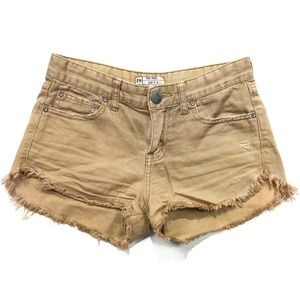 Free People Khaki Colored Denim Cut off Shorts 24